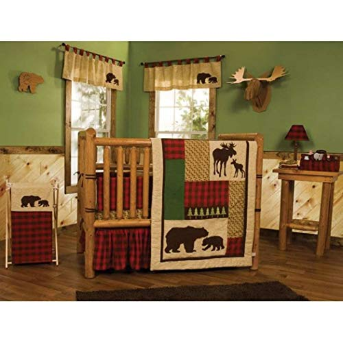 TL 5 Piece Baby Brown Green Red Southwest Tribal Crib Bedding Set, Newborn Animal Themed Nursery Bed Set, Infant Child Moose Deer Bear Nature Checkered Blanket Comforter, Cotton Polyester ()