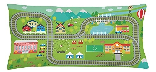 Kid's Activity Throw Pillow Cushion Cover by Ambesonne, Train Tracks with Colorful Town School City Mall and Amusement Park Fair, Decorative Square Accent Pillow Case, 36 X 16 Inches, - Mall Park City