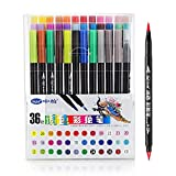 36 PCS Color Dual Brush & Fine Tips Water Based Marker Pens for Illustration Sketch Mango Animation Drawing Paint Design
