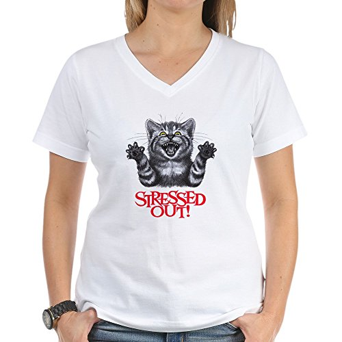 Royal Lion Women's V-Neck T-Shirt Stressed Out Cat - 3X