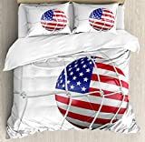 Sports Decor Queen Size Duvet Cover Set by Ambesonne, USA American Flag Printed Soccer Ball in a Net Goal Success Stylized Artwork, Decorative 3 Piece Bedding Set with 2 Pillow Shams