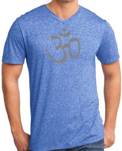 Yoga Clothing For You Mens AUM V-Neck Tee Shirt, Large Heathered Royal