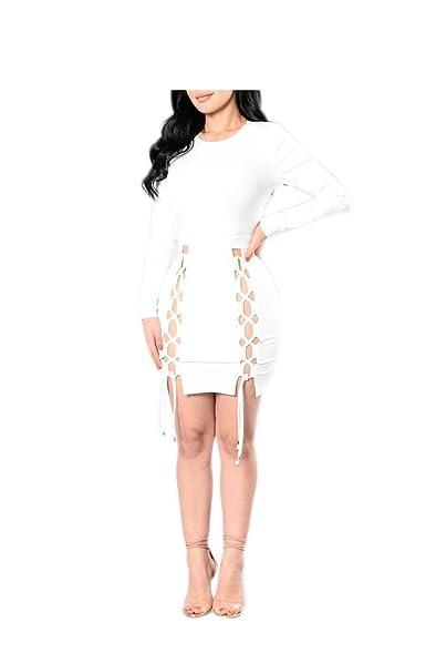 Hexu manga comprida oco out casual mulheres bandage dresses o pescoço clube dress vestidos
