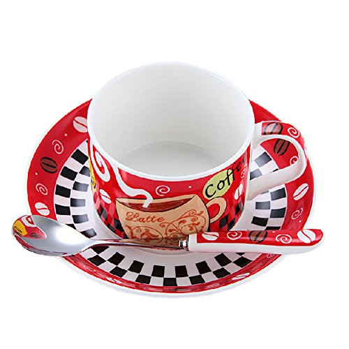 RED Modern Coffe Cup English Style Tea Mug Set With Plate&Spoon