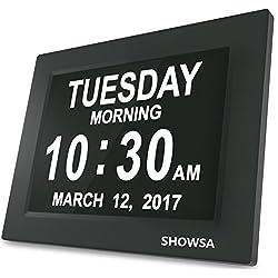 SHOWSA New Upgrade Day Clock, Day Clock, 5 Daily Alarms & 3 Medicine Reminder Digital Calendar Alarm Clock Elderly Extra Large Desk Clock Reminder for Impaired Vision & Dementia Alzheimer's