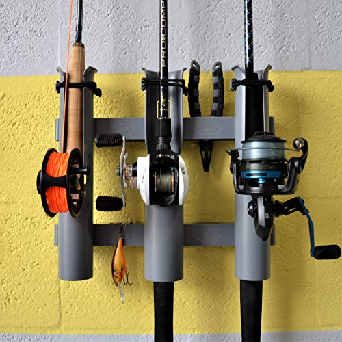 Rod-Runner 3 Rod Holder Fishing Rod Rack | Gray | Tri-Mount Fishing Pole Storage Mount ()