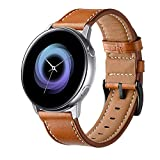 HATALKIN Compatible with Samsung Galaxy Watch Active2 40/44mm Band, Replacement Leather Wristband Compatible Samsung Galaxy Watch Active 2 (Brown)