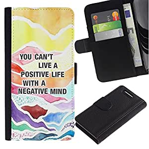 Cita positiva Consejos texto- la tarjeta de Crédito Slots PU Funda de cuero Monedero caso cubierta de piel Para Sony Xperia Z3 Compact / Z3 Mini (Not Z3)