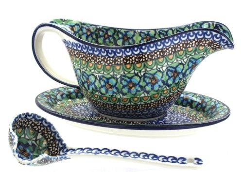 Polish Pottery Mardi Gras Gravy Boat, Plate, & Ladle ()