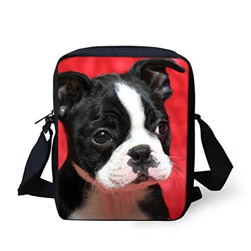 Coloranimal Cute 3D Animal Boston Terrier Messenger Bags for Kids Cross-body Bag (Messenger Boston Bag)
