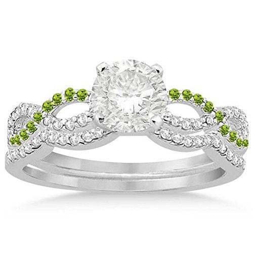 Infinity Twist Diamond and Peridot Engagement Ring and Diamond Contour Wedding Band Platinum (0.34ct) -
