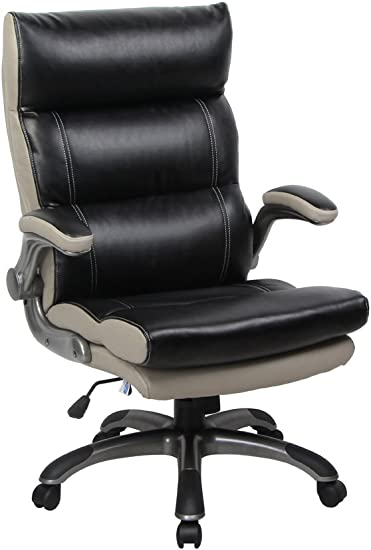 Amazon Com Viva Office Bonded Leather Thick Padded High Back Managerial Chair With Flip Up Arms Black And Light Grey Furniture Decor