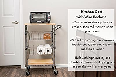 Internet's Best 3-Tier Kitchen Cart with Wire Baskets   Kitchen Island Trolley with Locking Wheels   Removable Cutting Board   2 Sliding Wire Baskets for Cooking Utensils or Food Storage