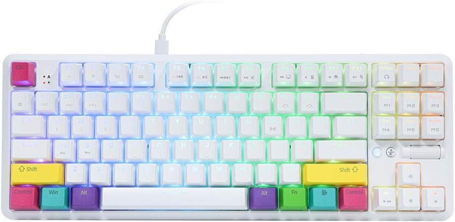EPOMAKER Ajazz K870T 87 Keys - Teclado mecánico inalámbrico con Bluetooth y retroiluminación RGB, cable tipo C, batería de 2000 mAh, NKRO para ...