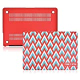 Case Star ® 13-inch Chevron Spike Accent Pattern Rubberized Macbook Hard Shell Case Cover for Apple Macbook Air 13 Inch A1369 & A1466 (RD) Turqouise Blue - White