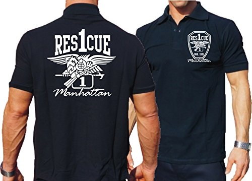 Manhattan with Eagle Rescue 1 New York City Fire Department Poloshirt navy
