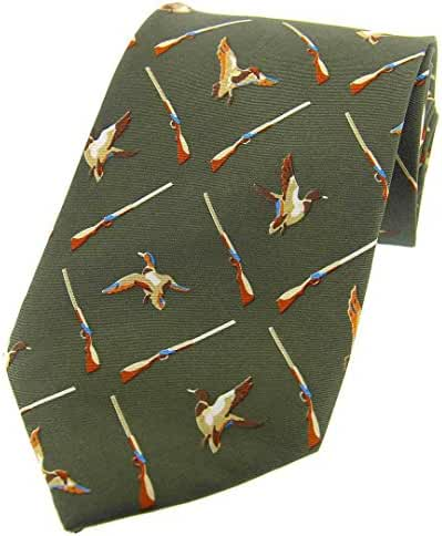 Country Green Flying Ducks and Shotgun Country Silk Tie by David Van Hagen