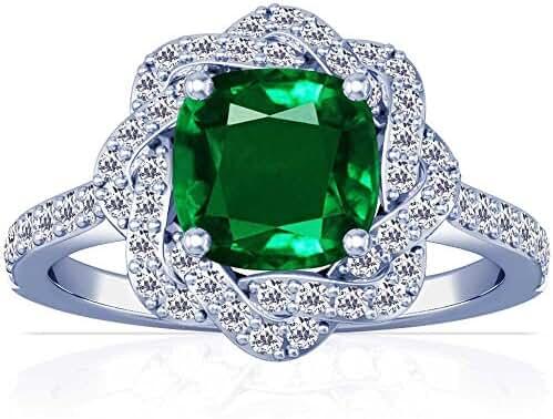 Platinum Cushion Cut Emerald Ring With Sidestones (GIA Certificate)