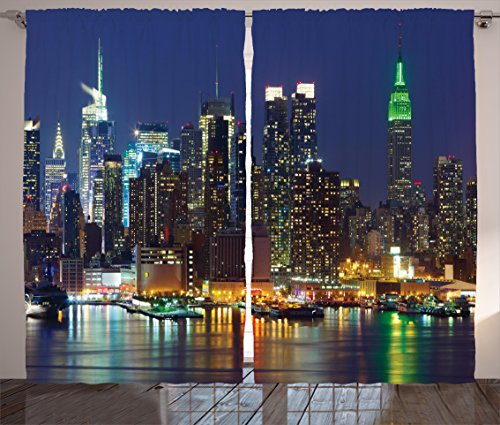 Ambesonne New York Curtains Decor, NYC Midtown Skyline in Evening Skyscrapers Amazing Metropolis City States Photo, Living Room Bedroom Window Drapes 2 Panel Set, 108 W X 90 L Inches, Royal Blue
