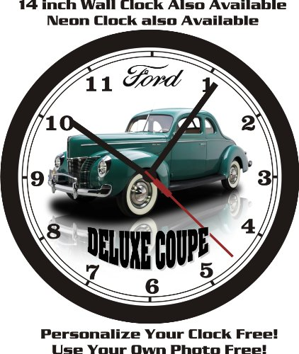- 1940 FORD DELUXE COUPE WALL CLOCK-FREE USA SHIP!