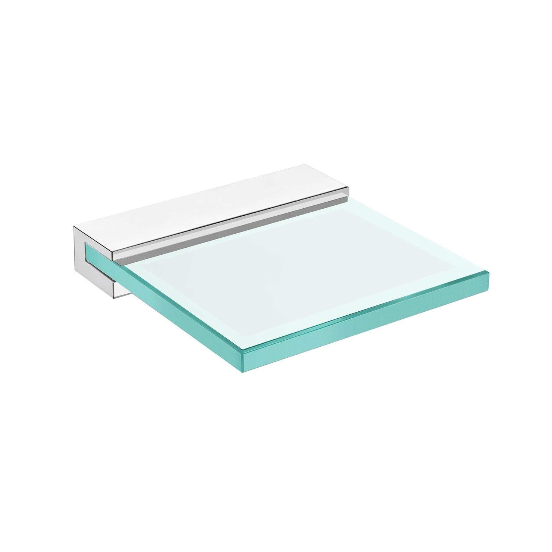 DAX Venice Soap Dish, Tray, Wall Mount, Tempered Glass, Chrome Finish, 4-5/16 x 4-1/2 x 4-1/2 Inches (DAX-GDC060132-CR)