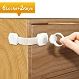 Adoric Upgraded Baby Proofing Cabinet Safety Locks with Magnetic Keys and Adjustable Strap Latch for Child Safety -No Drilling with 3M Adhesive -Ideal for Cabinets, Drawers, Appliances, Toilet, Fridge