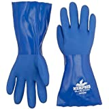 MCR Safety 6632M 12-Inch Bluecoat PVC Triple Dipped Seamless Knit Liner Gloves with Gauntlet, Blue, Medium, 1-Pair by MCR Safety