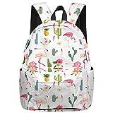 Stylish Elementary Student School Bag- Cartoon Flamingo Cactus and Pineapple Durable School Backpacks Outdoor Daypack Travel Packback for Kids Boys Girls
