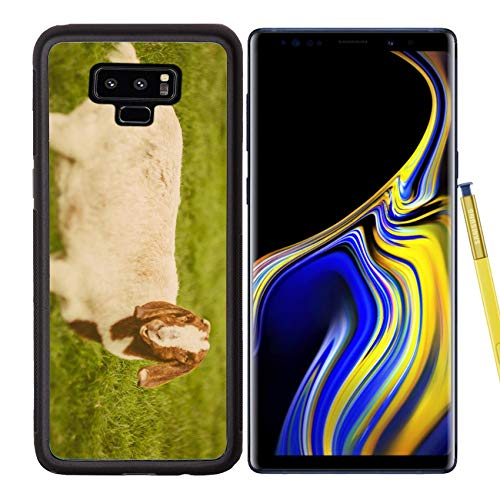 Luxlady Samsung Galaxy Note 9 Case Aluminum Backplate Bumper Snap Cases Image ID: 34232218 Goat on a Green Grass as Sign of 2015 Year by Chinese Calendar Vintage t