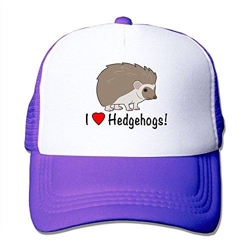 Mxdjsohng I Love Hedgehogs Unisex Mesh Hat Baseball Caps Grid Hat Adjustable Trucker Cap Headwear Bandanas ()