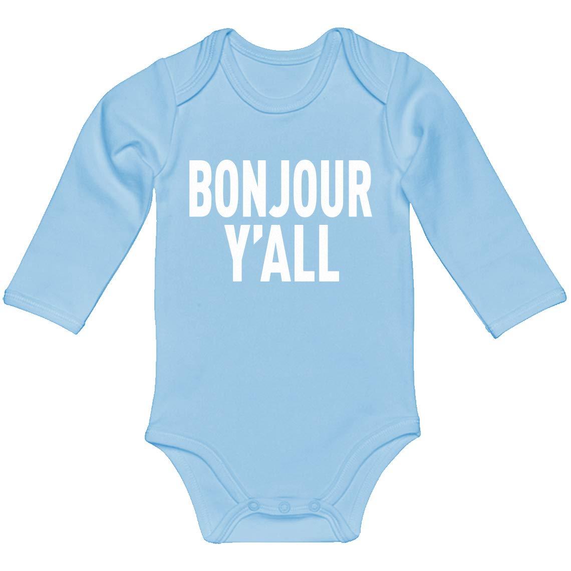 Baby Romper Bonjour Yall 100/% Cotton Long Sleeve Infant Bodysuit