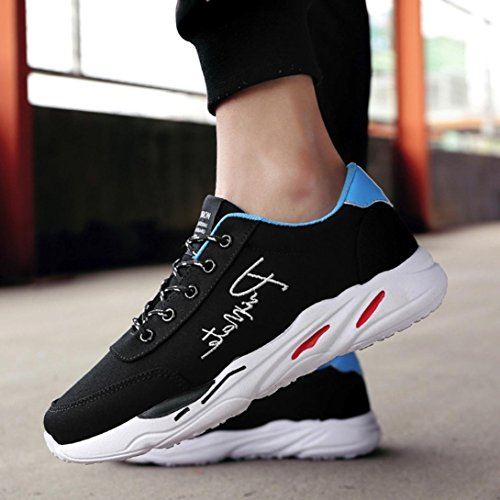 Hatop Sports Shoes For Men, Spring Breathable Street Sport Walking Shoes Casual Sneakers Black