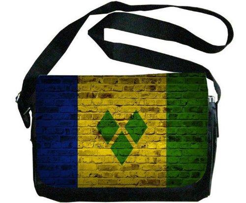 Saint Vincent and the Grenadines Flagレンガ壁デザインメッセンジャーバッグ   B00F1YCMOC