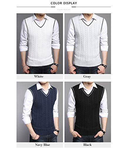 Manches over White Pull Sweaterr Fit homme Slim Veste Pull Gilet Classique Flying Sans Casual V Tricot Col Sleeveless n4Iq1C