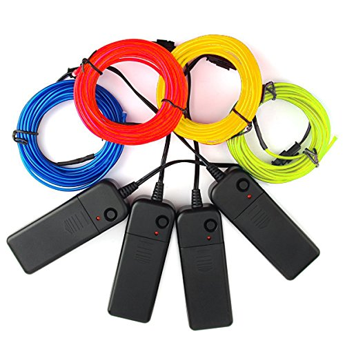 4-Pack 5M 15ft El wire Neon Glowing Strobing Electroluminescent Wires (Blue, Green, Red, Yellow) by Cefrank (Image #1)