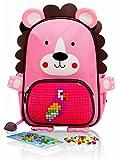 EPIC KIDS Mini School Backpack for children - Cute Girls Preschool kindergarten Backpack with Pink Lion Design - Colorful Personalized DIY lego Pocket - Emoji Gift Bags for Kids.