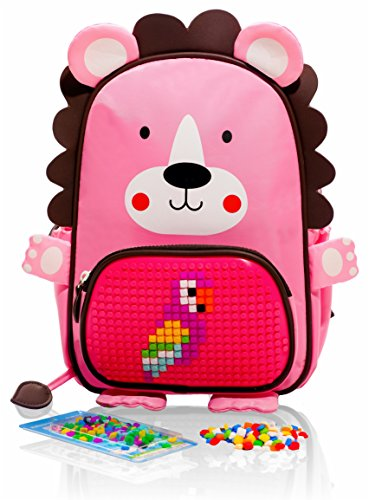 EPIC KIDS Mini School Backpack for children - Cute Girls Preschool kindergarten Backpack with Pink Lion Design - Colorful Personalized DIY lego Pocket - Emoji Gift Bags for Kids. by EPIC KIDS