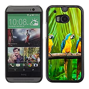 A-type Arte & diseño plástico duro Fundas Cover Cubre Hard Case Cover para HTC One M8 (Colorido loro del Macaw del arco iris)