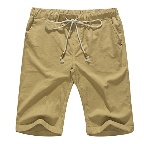 Janmid Men's Linen Casual Classic Fit Short Khaki M]()