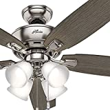 Hunter Fan 52 inch Brushed Nickel Ceiling Fan with Four Dimmable LED Lights (Certified Refurbished) For Sale
