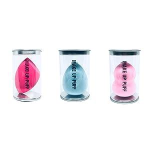 Makeup Blender Sponge, Beauty Blender Sponge Set,TKZCKL Miracle Colorful Beauty Sponges Latex-free Blender Flawless for All Skin Types Liquid & Creams & Powers 3pcs Barrel Sponges, 1pc Sponge Holder