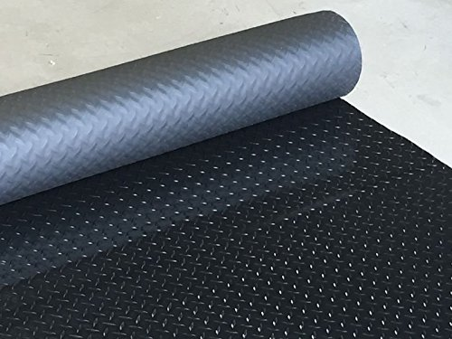 Black Checker Plate Rubber Garage Flooring Matting | 6ft 6u0026quot; Wide |  Choose Your Own