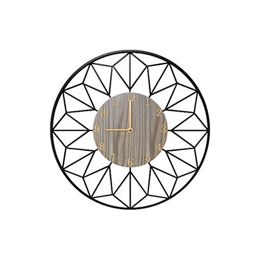 Light Years Wall Clock, Black Wooden Quartz Clock Modern Round Iron Cafe Living Room Wall Decoration 57cm Silent Clock -