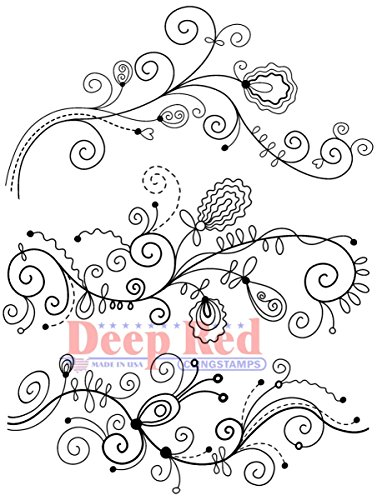 Deep Red Stamps Doodle Borders Rubber Stamp Set