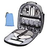 NiceEbag Picnic Bag for 4 with Complete Tableware/Cutlery Set and Blanket,4 Person Picnic Tote Bag with Detachable Shoulder Strap for Family/Friends Outdoor Picnic Party Camping Fishing Hiking,Gray