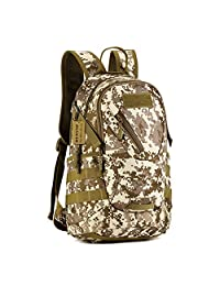 Protector Plus Military MOLLE Backpack Rucksack Gear Tactical Assault Pack Student School Bag 20L for Hunting Camping Trekking Travel (Desert Camouflage)