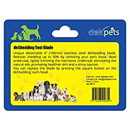 DakPets Deshedding & Pet Grooming Replacement Comb For Small, Medium & Large Dogs + Cats. Dramatically Reduces Shedding In Minutes GUARANTEED!