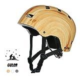 low profile climbing helmet - Multi Sports Bike Skateboard Helmet- Vihir Classic Adult and Kids Adjustable Dial Helmet, Wood Grain, M