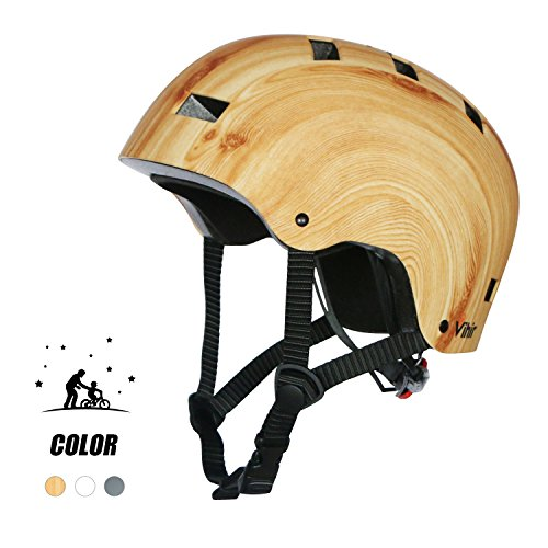 Multi Sports Bike Skateboard Helmet- Vihir Classic Adult and Kids Adjustable Dial Helmet, Wood Grain, L