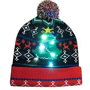 Amazon.com  Haluoo LED Xmas Christmas Hat Beanie Winter Snow Hat ... 1b81df0ad4fd